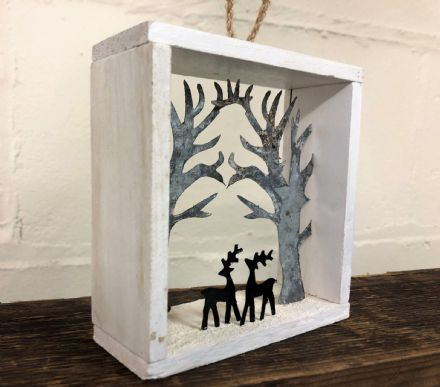 Rusty Trees with Deer in Wooden Box Christmas Decoration